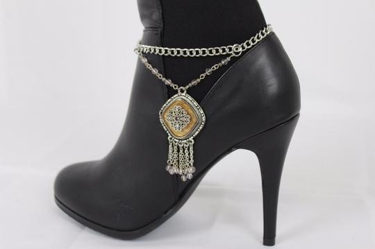 Alwaystyle4you Women Silver Chain Boot Bracelet Anklet Shoe Charm Ethnic Beads Fringe Image 5