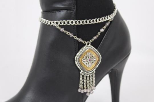 Alwaystyle4you Women Silver Chain Boot Bracelet Anklet Shoe Charm Ethnic Beads Fringe Image 7