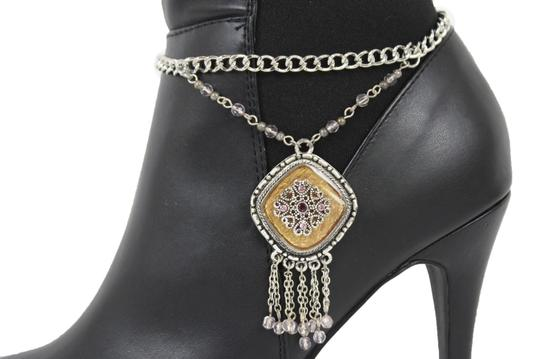 Alwaystyle4you Women Silver Chain Boot Bracelet Anklet Shoe Charm Ethnic Beads Fringe Image 9