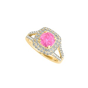 DesignByVeronica Yellow Gold Vermeil Halo Ring with Pink Sapphire CZ