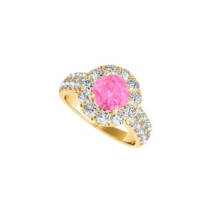 DesignByVeronica Pink Sapphire Halo Ring in Yellow Gold Vermeil CZ Rows