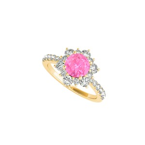 DesignByVeronica Flower Shape Ring with Pink Sapphire and CZ 1.50 CT TGW