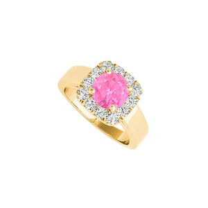 DesignByVeronica Pink Sapphire CZ Halo Ring in 18K Yellow Gold Vermeil