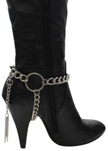 Alwaystyle4you Women Silver Chain Boot Bracelet Anklet Shoe Charm Fringe Big Ring