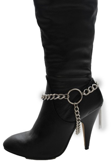 Alwaystyle4you Women Silver Chain Boot Bracelet Anklet Shoe Charm Fringe Big Ring Image 1