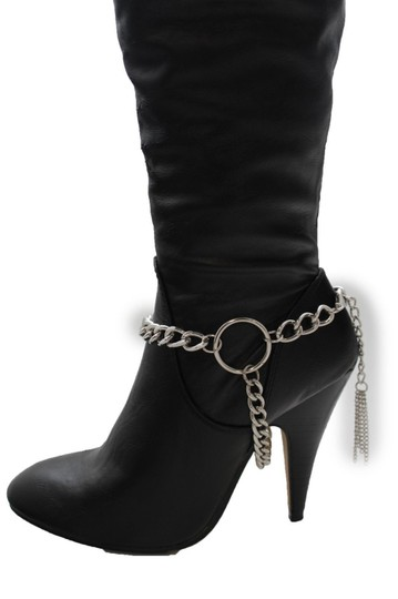 Alwaystyle4you Women Silver Chain Boot Bracelet Anklet Shoe Charm Fringe Big Ring Image 2