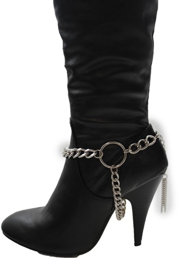 Alwaystyle4you Women Silver Chain Boot Bracelet Anklet Shoe Charm Fringe Big Ring Image 3