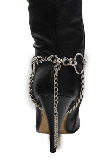 Alwaystyle4you Women Silver Chain Boot Bracelet Anklet Shoe Charm Fringe Big Ring Image 4