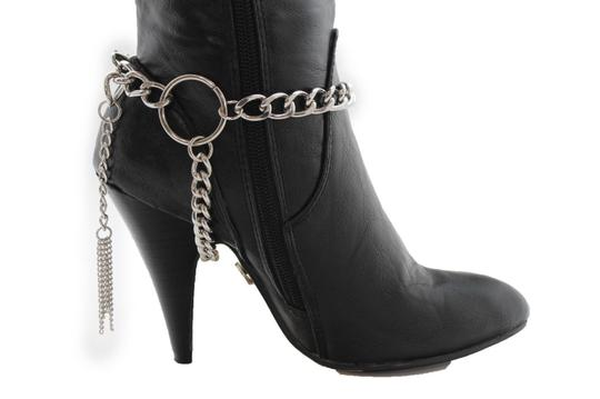 Alwaystyle4you Women Silver Chain Boot Bracelet Anklet Shoe Charm Fringe Big Ring Image 8