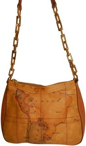 Alviero Martini Map Coated Canvas Chain Leather Shoulder Bag