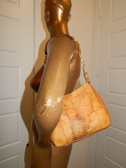 Alviero Martini Map Coated Canvas Chain Leather Shoulder Bag Image 1