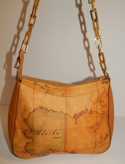 Alviero Martini Map Coated Canvas Chain Leather Shoulder Bag Image 2