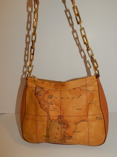 Alviero Martini Map Coated Canvas Chain Leather Shoulder Bag Image 4