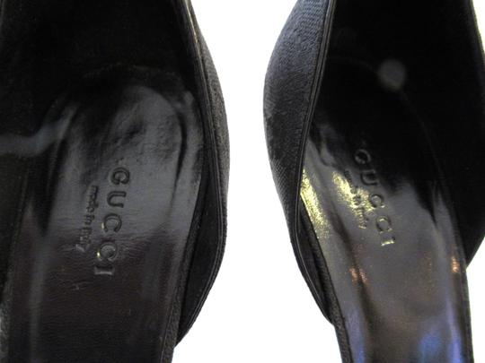 Gucci Stilettos Fabric Logo Black Pumps Image 9