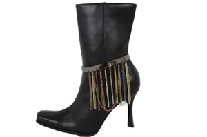 Alwaystyle4you Women Pewter Plate Boot Anklet Chain Long Fringes Cuff Bracelet