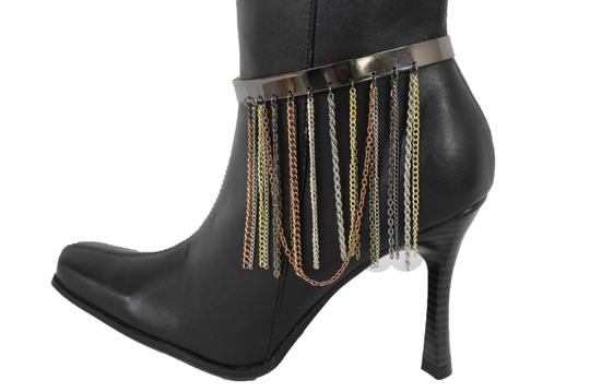 Alwaystyle4you Women Pewter Plate Boot Anklet Chain Long Fringes Cuff Bracelet Image 1