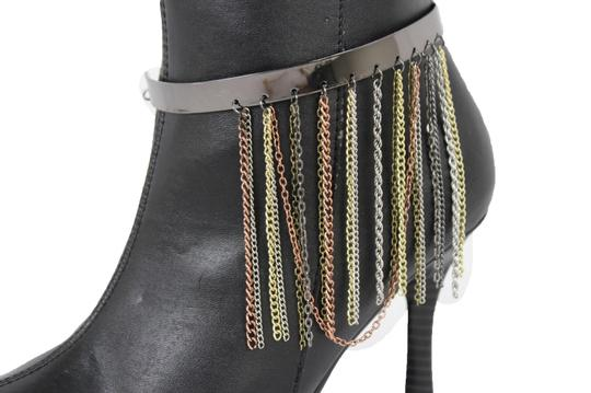 Alwaystyle4you Women Pewter Plate Boot Anklet Chain Long Fringes Cuff Bracelet Image 10