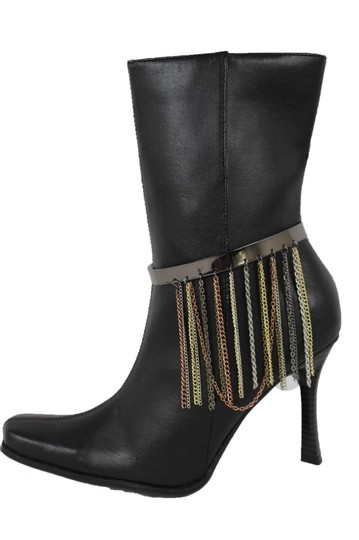 Alwaystyle4you Women Pewter Plate Boot Anklet Chain Long Fringes Cuff Bracelet Image 2