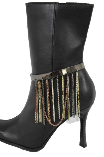 Alwaystyle4you Women Pewter Plate Boot Anklet Chain Long Fringes Cuff Bracelet Image 3
