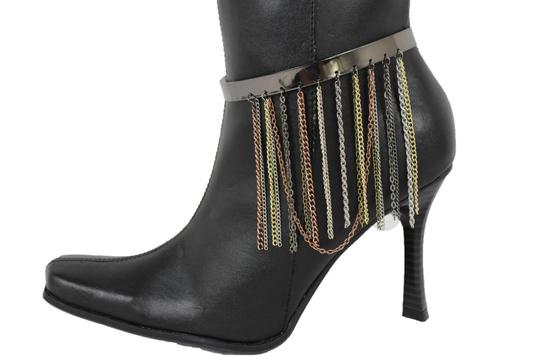Alwaystyle4you Women Pewter Plate Boot Anklet Chain Long Fringes Cuff Bracelet Image 4