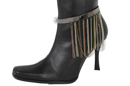 Alwaystyle4you Women Pewter Plate Boot Anklet Chain Long Fringes Cuff Bracelet Image 6