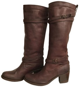 Frye Leather Western Riding Distressed Motorcycle Brown Boots