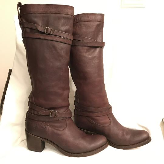 Frye Leather Western Riding Distressed Motorcycle Brown Boots Image 1