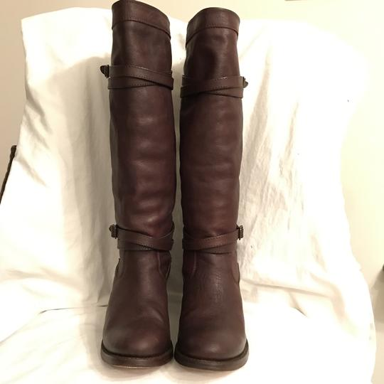 Frye Leather Western Riding Distressed Motorcycle Brown Boots Image 2
