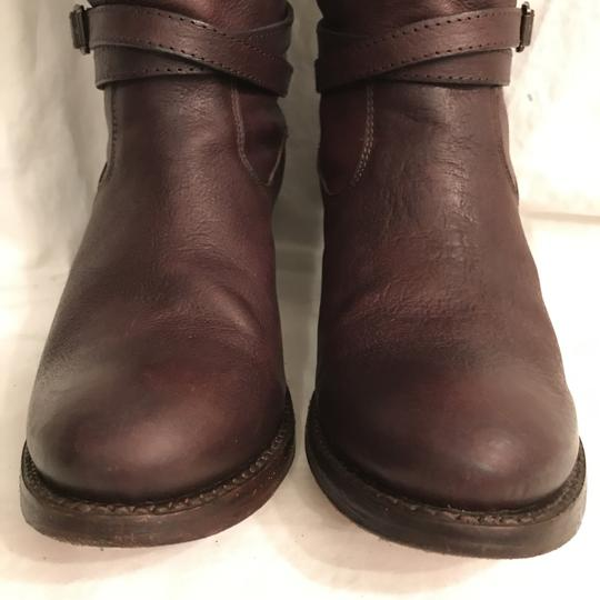 Frye Leather Western Riding Distressed Motorcycle Brown Boots Image 3