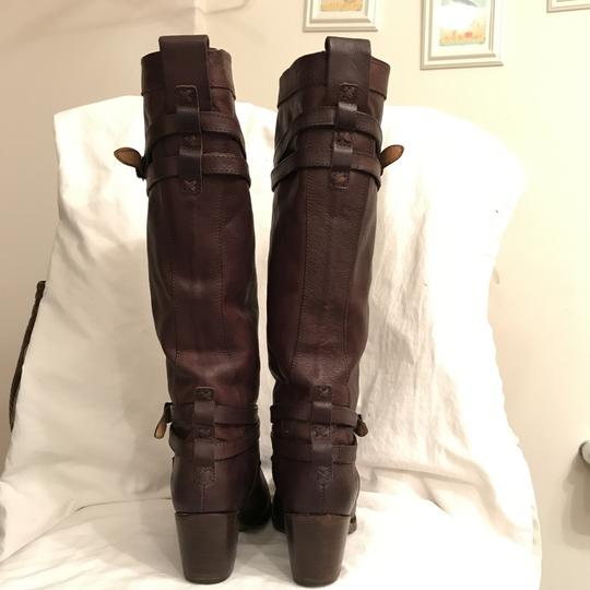 Frye Leather Western Riding Distressed Motorcycle Brown Boots Image 4