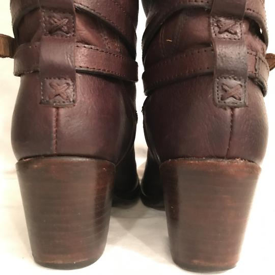 Frye Leather Western Riding Distressed Motorcycle Brown Boots Image 5