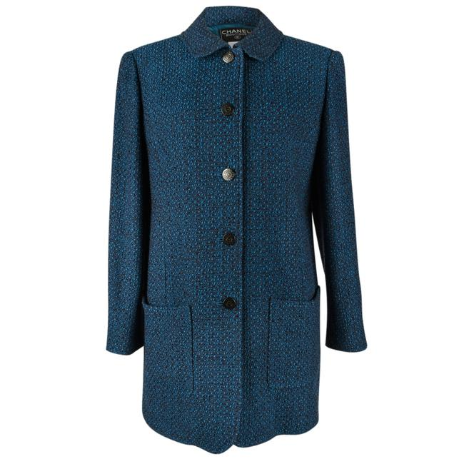 Item - Multicolor 97a Car Style Chic Blue / Brown Tweed Wearable 40 / Coat Size 6 (S)