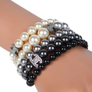 Chanel Chanel 2015 MultiStrand Pearl Bracelet with CC Logos