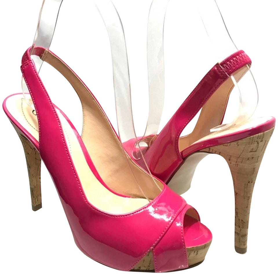 c786fdf66f7 Guess Pink Hot Patent Leather Peep Toe Heels 6m Pumps Size US 6 Regular (M,  B)