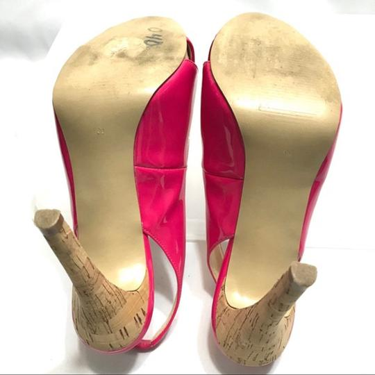 Guess Slingback Patent Leather Peep Toe Pink Pumps Image 5