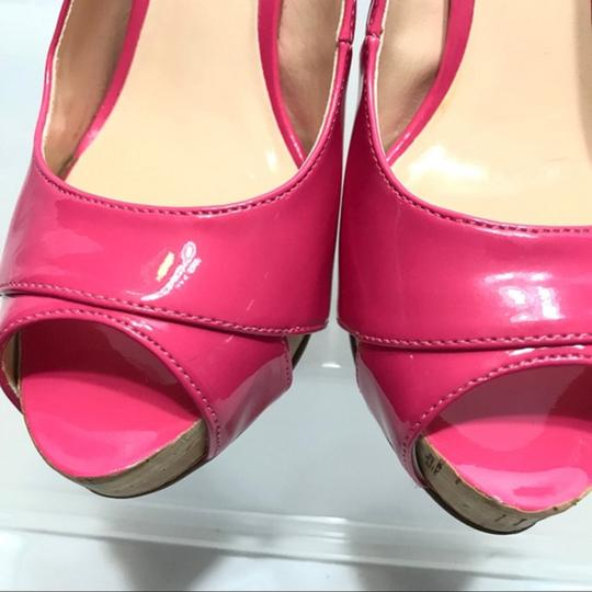 Guess Slingback Patent Leather Peep Toe Pink Pumps Image 6