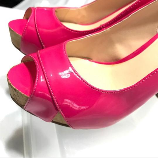 Guess Slingback Patent Leather Peep Toe Pink Pumps Image 7