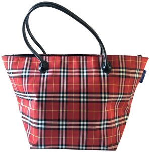 Burberry Plaid Travel Tote in Red & Black & White