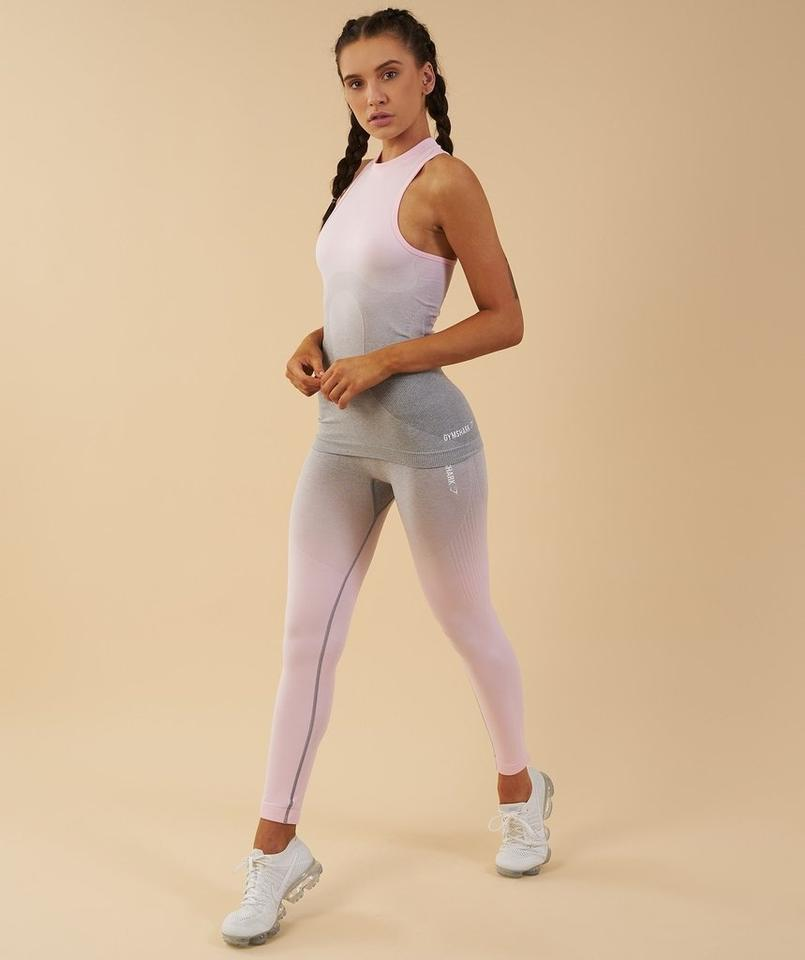 163cdbf1bd3fb Light Grey/ Chalk Pink Ombre Seamless Vest Activewear Top Size 4 (S ...