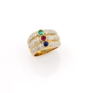 Other Diamond & Multi-Color Gems 18k Yellow Gold 3 Row Stack Ring