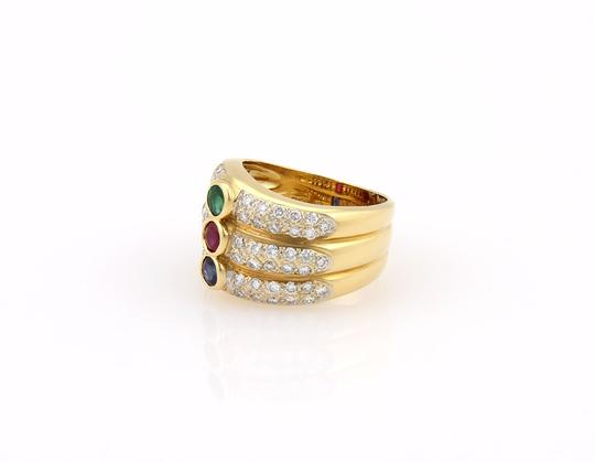 Other Diamond & Multi-Color Gems 18k Yellow Gold 3 Row Stack Ring Image 1