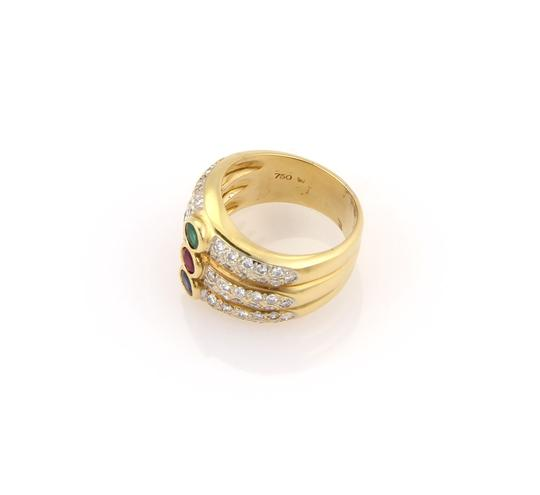 Other Diamond & Multi-Color Gems 18k Yellow Gold 3 Row Stack Ring Image 2
