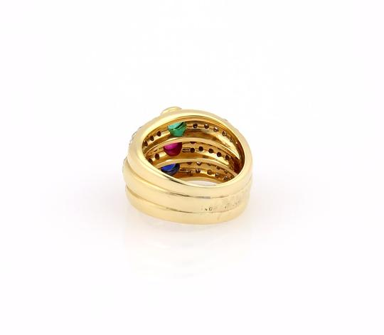 Other Diamond & Multi-Color Gems 18k Yellow Gold 3 Row Stack Ring Image 3