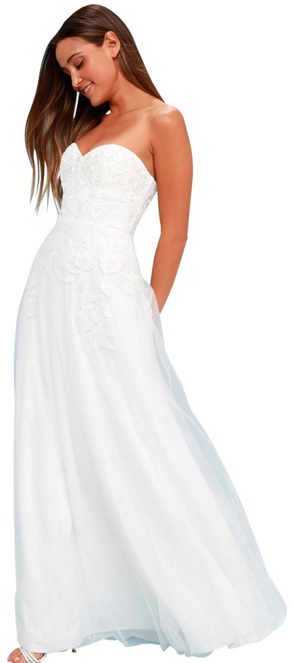 c5c42dd589db LuLu White Isidore Embroidered Strapless Long Casual Maxi Dress Size ...