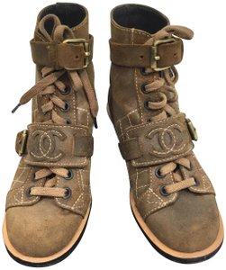 Chanel Suede Distressed Leather Brown Boots