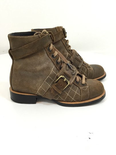 Chanel Suede Distressed Leather Brown Boots Image 3