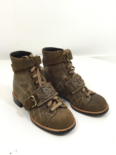Chanel Suede Distressed Leather Brown Boots Image 4