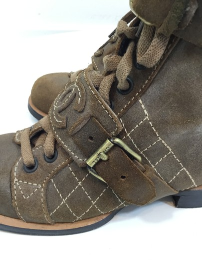 Chanel Suede Distressed Leather Brown Boots Image 6