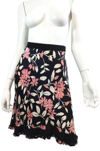 Moschino Floral Silk Beaded Embellished Evening Skirt Black