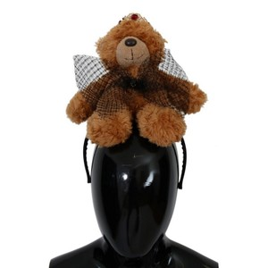 Dolce&Gabbana D114 Women's Brown Teddy Bear Gold Crystal Diadem